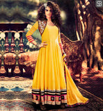 MIRROR MAZE COLLECTION DRESS FEATURING BEAUTIFUL CELEBRITY KANGANA RANAUT GEORGETTE YELLOW ANARKALI WITH LYCRA FABRIC SALWAR AND CHIFFON DUPATTA