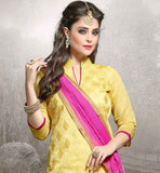 CHANDERI FABRIC YELLOW KAMEEZ WITH PINK COTTON SALWAR AND NAZNEEN DUPATTA STYLISH STRAIGHT CUT SALWAR KAMEEZ IN PINK COLOR COTTON FABRIC AND EMBROIDERY WORK