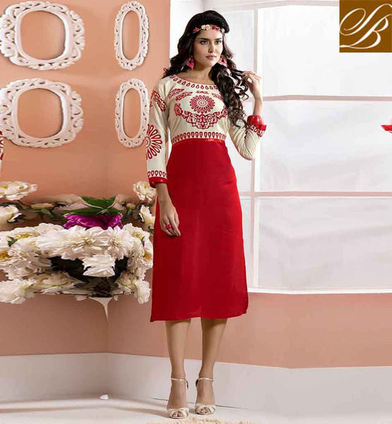 KURTI DESIGN 2015TRENDY FASHION WEAR FOR TEEN GIRLS AWESOME OFF WHITE AND RED COTTON RAYON FABRIC KURTI