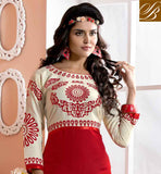 AWESOME OFF WHITE AND RED COTTON RAYON FABRIC KURTI LOOK YOUNG AND BEAUTIFUL IN THIS LUXURIOUS RED COLOR WITH COTON RAYON FABRIC