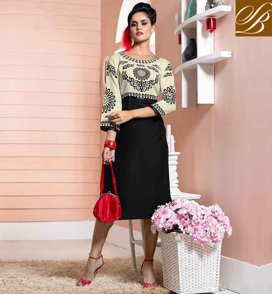 KURTI DESIGN LATEST 2015MOST LIKED STYLE BY YOUNG GIRLS COOL OFF WHITE AND BLACK COTTON RAYON FABRIC KURTIS