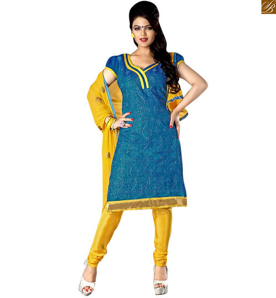 Latest punjabi suits designs of salwar kameez dress 2015 best blue catton different cut neck designer salwar kameez with patch work and yellow churidar bottom Image