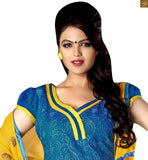 Latest punjabi suits designs with exceleent multicolor matching piping to make this salwar kameez dress 2015 best for office wear blue catton different cut neck designer salwar kameez with patch work and yellow churidar bottom photo