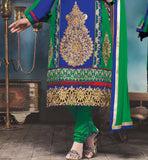 SHOP ONLINE BLUE & GREEN EMBROIDERED GEORGETTE STRAIGTH SALWAR KAMEEZ STYLISHBAZAAR