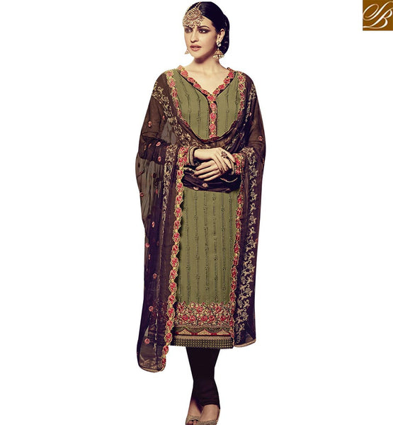 STYLISH BAZAAR FASHIONABLE GREEN GEORGETTE STRAIGHT CUT SALWAR KAMEEZ HAVING EMBROIDERY TOP OF THE BOTTOM RTFRS2005