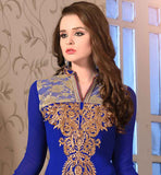 COSMOPOLITAN BLUE SALWAR SUIT WITH EXTENDED EMBROIDERED NECKLINE
