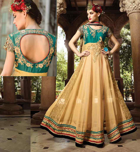 BEAUTIFUL ANARKALI DRESS RAJWADI DESIGNS 2015 STYLISH GOWN STYLE ANARKALI WITH EXCITING ZARI, SILK THREADWORK, STONEWORK AND LACE BORDER