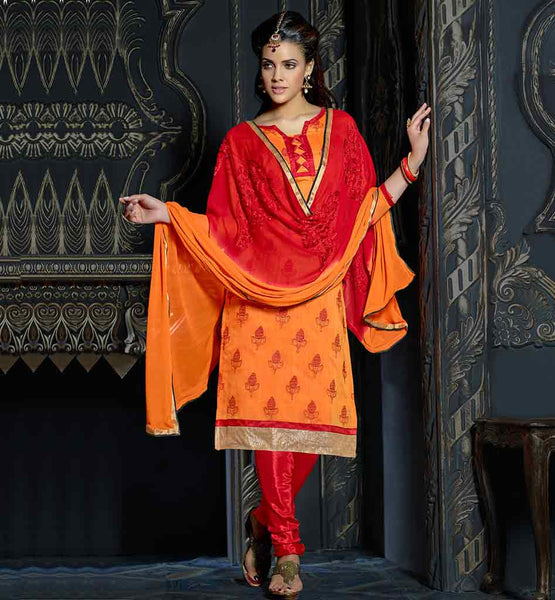 COMFORTABLE CHANDERI FABRIC SALWAR KAMEEZ SUITS WITH SHADED DUPATTA