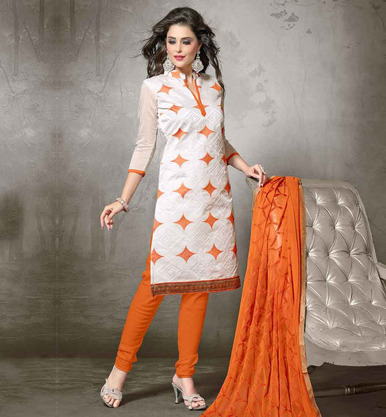 TRADITIONAL INDIAN CLOTHES OF ETHNIC DRESS SHALWAR KAMEEZ DESIGNS  SUITS FOR WOMEN CHANDERI FABRIC OFF-WHITE KAMEEZ WITH ORANGE COTTON SALWAR AND NAZNEEN DUPATTA