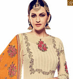 WONDERFUL CREAM GEORGETTE DESIGNER SALWAR KAMEEZ WITH ORANGE BOTTOM AND DUPATTA RTFRS2006