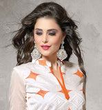 CHANDERI FABRIC OFF-WHITE KAMEEZ WITH ORANGE COTTON SALWAR AND NAZNEEN DUPATTA DESIGNER COLLAR NECK  WITH SHORT SLEEVE KAMEEZ IN ABSTRACT EMBROIDERY WORK