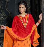 COMFY CHANDERI FABRIC ORANGE KURTI WITH SHADED DUPATTA
