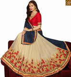 FROM STYLISH BAZAAR ASTONISHING BEIGE AND BLUE GEORGETTE HALF N HALF SAREE WITH INCREDIBLE EMBROIDERY WORK SLARD2006