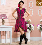 KURTI DESIGN PATTERNS 2015 FASHION WEAR OF MONSOON LOVELY PINK COTTON RAYON FABRIC KURTI