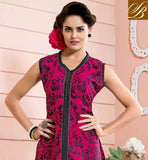 LOVELY PINK COTTON RAYON FABRIC KURTI FABULOUS FLAUNTS CONTRAST FANCY FABRIC BUTTONS DECKED NECKLINE AND PINTUCK PLEATS ENHANCED YOKE PART KURTI