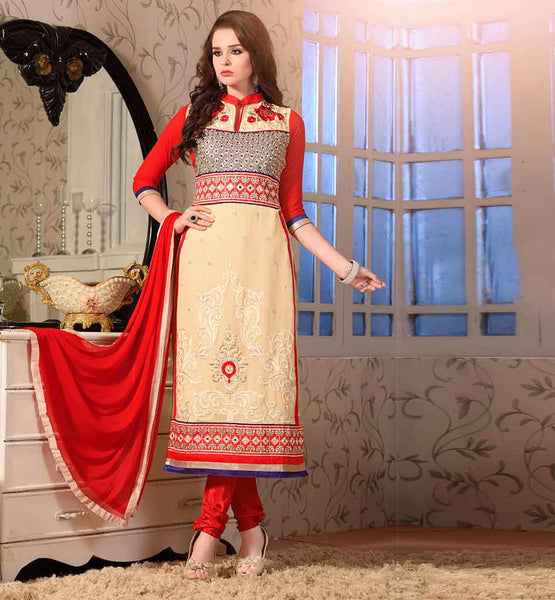TRENDY DUAL COLOR SALWAR SUIT WITH GOOD LOOKING EMBROIDERY WORK