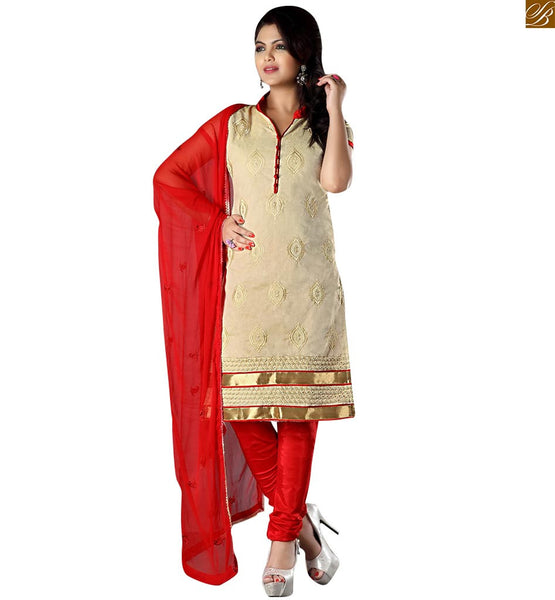 Punjabi suit pattern of salwar kameez designs 2015 indian dress cream cotton high neck designer salwar kameez with piping work on neck line and maroon bottom Image