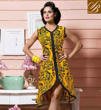 KURTI STYLES WITH STYLISH DESIGNS SUITABLE FOR OFFICE WEAR AMAZING YELLOW COTTON RAYON FABRIC KURITS