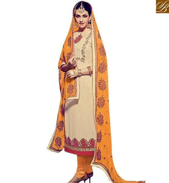 STYLISH BAZAAR WONDERFUL CREAM GEORGETTE DESIGNER SALWAR KAMEEZ WITH ORANGE BOTTOM AND DUPATTA RTFRS2006