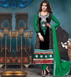 SHOP ONLINE BLACK  EMBROIDERED GEORGETTE STRAIGTH SALWAR KAMEEZ STYLISHBAZAAR