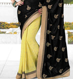 2006 designer Indian party wear saree online shopping with tikiwork Sequin Black & Lemon a