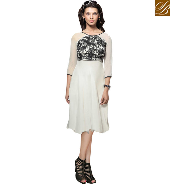 A STYLISH BAZAAR PRESENTATION MARVELOUS FLORAL EMBROIDERED KURTI DESIGN VDSCH2006