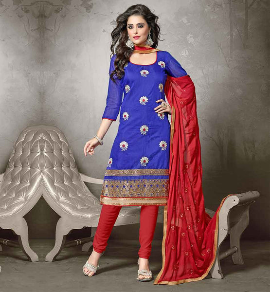 PUNJABI PARTY WEAR BEAUTIFUL DRESSES SHALWAR KAMEEZ DESIGNS SUITS FOR WOMEN  CHANDERI FABRIC BLUE KAMEEZ WITH RED COTTON SALWAR AND NAZNEEN DUPATTA