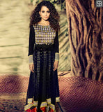 QUEEN HEROINE KANGANA RANAUT IN BLACK DRESS BY ARCHANA KOCHHAR BLACK COLOR GEORGETTE ANARKALI WITH CHIFFON DUPATTA AND LYCRA SALWAR