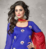 CHANDERI FABRIC BLUE KAMEEZ WITH RED COTTON SALWAR AND NAZNEEN DUPATTA THIS BEUTIFULL DESIGNER DRESS DECORATED WITH FLORAL EMBROIDERY AND ZARI WORK