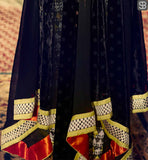 STUNNING YOKE PORTION WITH BELT STYLE DESIGNING ON THE WAIST REGION AND FANCY EMBROIDERY ON SLEEVES AND HEMLINE QUEEN HEROINE KANGANA RANAUT IN BLACK DRESS BY ARCHANA KOCHHAR