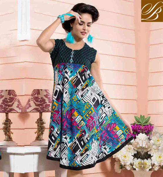 LATEST DESIGNER KURTIS 2015  BEST OFFICE WEAR COLLECTION MASTER BLACK, OFF WHITE AND SKY BLUE COTTON RAYON FABRIC KURTI