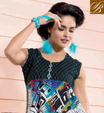MASTER BLACK, OFF WHITE AND SKY BLUE COTTON RAYON FABRIC KURTI MAJESTIC MULTI COLOR AND FEATURES ANGRAKHA STYLE NECKLINE ELEGANTLY DECKED WITH FANCY FABRIC BUTTON IN KURTI