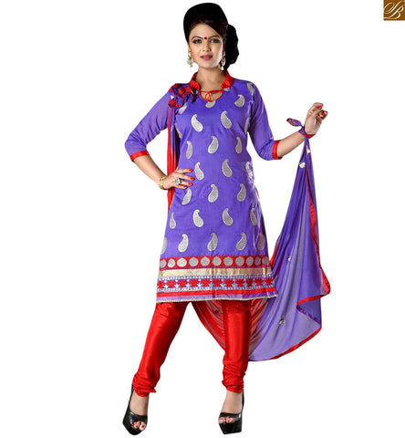 Indian salwar kameez formal dresses collection online shopping purple cotton kerry zari embroidered formal dress with embroidery patch work on lower part and border line Image