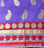 Purple cotton kerry zari embroidered formal dress with embroidery patch work on lower part and border line. pic