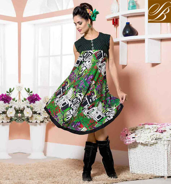 DESIGNER KURTIS WITH DIFFERENT CUTS AND STYLE COLLECTION STUNNING BLACK, OFF WHITE AND GREEN COTTON RAYON FABRIC KURTI