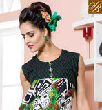 STUNNING BLACK, OFF WHITE AND GREEN COTTON RAYON FABRIC KURTI GORGEOUS MULTI COLOR AND DELUXE FANCY FABRIC BUTTONS IN THIS KURTIS, LOOK LIKE OCCASIONAL WEAR