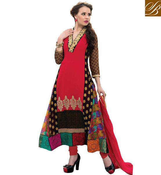BEAUTIFUL SALWAR KAMEEZ SHOPPING WITH PICTURES  V_DEEP NECK DESIGNER DRESS IN MULTI COLOR KAMEEZ WITH DUPATTA