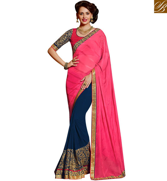 STYLISH BAZAAR AGREEABLE NAVY BLUE AND PINK GEORGETTE PARTY WEAR SAREE HAVING GROOVY DESIGN OF THE ERA SLARD2007