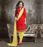 SHALWAR KAMEEZ DESIGNS OF BEAUTIFUL DRESSES NEW PATTERN OF FROCKS OF FULL LENGTH LONG CHANDERI FABRIC RED KAMEEZ WITH YELLOW COTTON SALWAR AND NAZNEEN DUPATTA