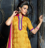 2015 PATTERN YELLOW TRENDY KURTI WITH PINK SALWAR AND DUPATTA