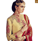 FROM THE HOUSE OF STYLISH BAZAAR ELEGANT CREAM GEORGETTE HEAVY EMBROIDERED SUIT WITH LACE BORDER WORK ON TOP RTFRS2008