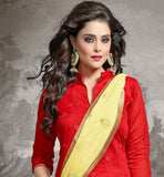 CHANDERI FABRIC RED KAMEEZ WITH YELLOW COTTON SALWAR AND NAZNEEN DUPATTA STRAIGHT CUT SALWAR KAMEEZ IN AWESOME RED AND FLORAL EMBROIDERY WORK