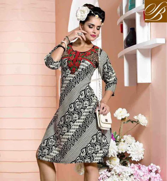 KURTI DESIGN PATTERNED DESIGNER LONG STRAIGHT CUT TYPE EYE CATCHING BLACK AND OFF WHITE COTTON RAYON FABRIC STYLISH KURTI