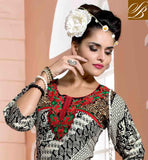 EYE CATCHING BLACK AND OFF WHITE COTTON RAYON FABRIC STYLISH KURTI EXCELLENT EMBROIDERY PATCH WORK AT NECK LINE DESINGER KURTI FEATURES GREEN YOKE PATCH AND PRINTED FOLIAGE AND GEOMETRIC PATTERNS
