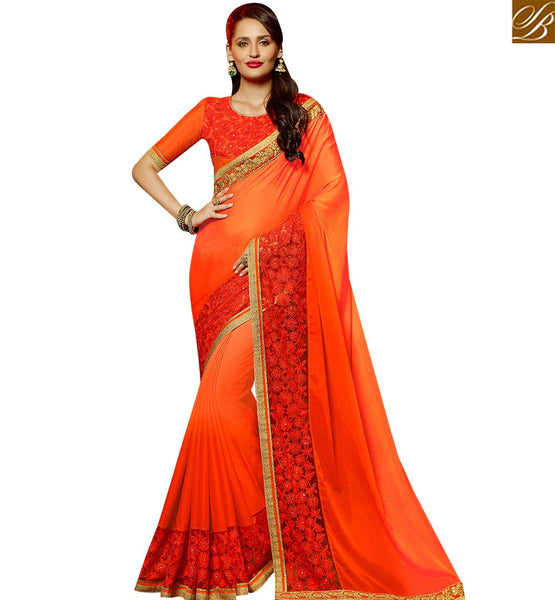 STYLISH BAZAAR MAGNIFICENT ORANGE GEORGETTE PARTY WEAR DESIGNER SAREE HAVING PLEASANT LOOK ATTIRE WITH BORDER SLARD2008