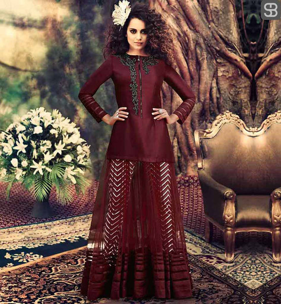 KANGANA RANAUT DRESS DESIGNED BY FAMOUS DESIGNER ARCHANA KOCHHAR BHAGALPURI SILK BROWN MODERN DESIGN ANARKALI WITH CHIFFON DUPATTA AND LYCRA PRINTED BOTTOM