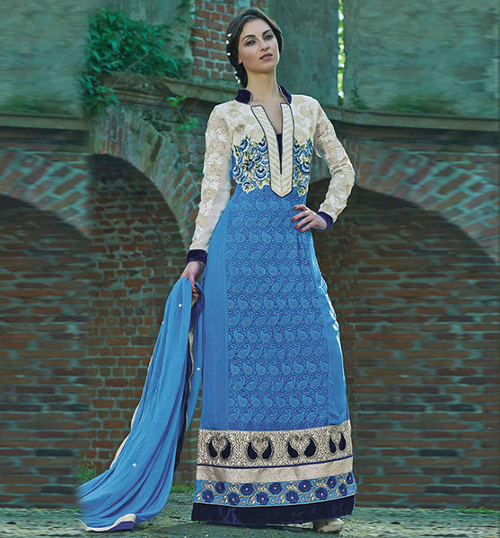 BEAUTIFUL BLUE FAUX GEORGETTE ANARKALI SALWAR SALWAR KAMEEZ INZH2008