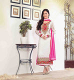 CLASSIC BEAUTY ELLI AVRAM CREAM PARTY WEAR BRASSO SALWAR SUIT DRESS