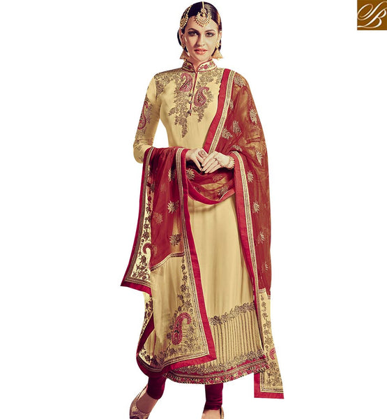 STYLISH BAZAAR ELEGANT CREAM GEORGETTE HEAVY EMBROIDERED SUIT WITH LACE BORDER WORK ON TOP RTFRS2008