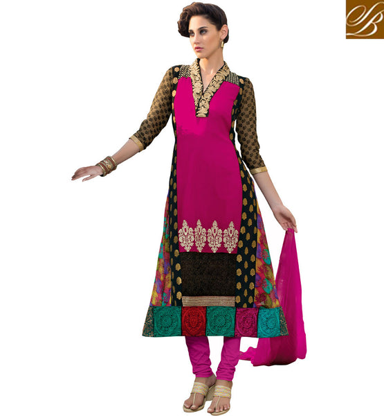 SALWAR KAMEEZ DESIGNER BEAUTIFUL COLLECTION BLACK AND PINK DESIGNER DRESS WITH PATCH WORK ON DEEP NECK